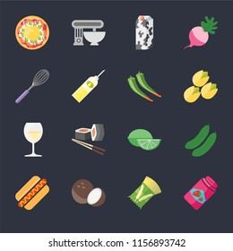 Set Of 16 icons such as Jam, Pasta, Coconut, Hot dog, Cucumber, Pizza, Whisk, Glass, Pepper on black background, web UI editable icon pack