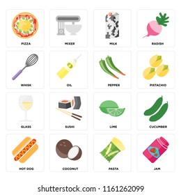 Set Of 16 icons such as Jam, Pasta, Coconut, Hot dog, Cucumber, Pizza, Whisk, Glass, Pepper, web UI editable icon pack, pixel perfect