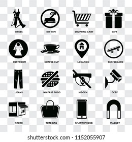 Set Of 16 icons such as Magnet, Smarthphone, Tote bag, Store, Cctv, Dress, Restroom, Jeans, Location on transparent background, pixel perfect