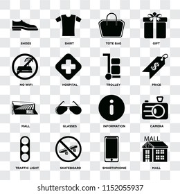 Set Of 16 icons such as Mall, Smarthphone, Skateboard, Traffic light, Camera, Shoes, No wifi, Trolley on transparent background, pixel perfect