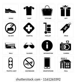 Set Of 16 icons such as Mall, Smarthphone, Skateboard, Traffic light, Camera, Shoes, No wifi, Trolley, web UI editable icon pack, pixel perfect