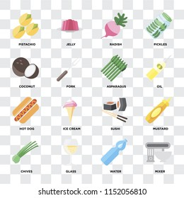 Set Of 16 icons such as Mixer, Water, Glass, Chives, Mustard, Pistachio, Coconut, Hot dog, Asparagus on transparent background, pixel perfect