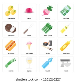 Set Of 16 icons such as Mixer, Water, Glass, Chives, Mustard, Pistachio, Coconut, Hot dog, Asparagus, web UI editable icon pack, pixel perfect