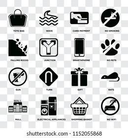 Set Of 16 icons such as No wifi, Shopping basket, Electrical appliances, Mall, Rats, Tote bag, Falling rocks, Gun, Smarthphone on transparent background, pixel perfect