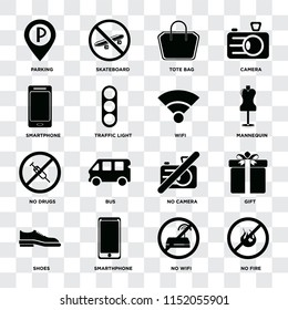 Set Of 16 icons such as No fire, wifi, Smarthphone, Shoes, Gift, Parking, Smartphone, drugs, Wifi on transparent background, pixel perfect