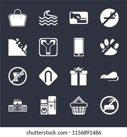 Set Of 16 icons such as No wifi, Shopping basket, Electrical appliances, Mall, Rats, Tote bag, Falling rocks, Gun, Smarthphone on black background, web UI editable icon pack