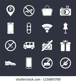 Set Of 16 icons such as No fire, wifi, Smarthphone, Shoes, Gift, Parking, Smartphone, drugs, Wifi on black background, web UI editable icon pack