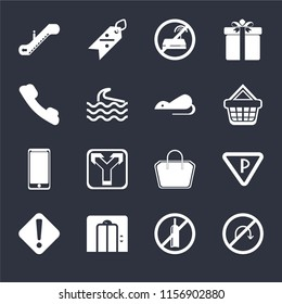 Set Of 16 icons such as No turn, alcohol, Lift, Warning, Parking, Escalator, Telephone, Smarthphone, Rats on black background, web UI editable icon pack