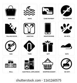 Set Of 16 icons such as No wifi, Shopping basket, Electrical appliances, Mall, Rats, Tote bag, Falling rocks, Gun, Smarthphone, web UI editable icon pack, pixel perfect