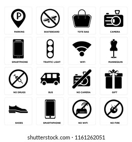 Set Of 16 icons such as No fire, wifi, Smarthphone, Shoes, Gift, Parking, Smartphone, drugs, Wifi, web UI editable icon pack, pixel perfect