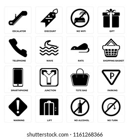 Set Of 16 icons such as No turn, alcohol, Lift, Warning, Parking, Escalator, Telephone, Smarthphone, Rats, web UI editable icon pack, pixel perfect