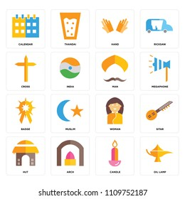 Set Of 16 icons such as Oil lamp, Candle, Arch, Hut, Sitar, Calendar, Cross, Badge, Man, web UI editable icon pack, pixel perfect