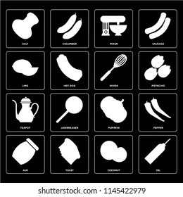 Set Of 16 icons such as Oil, Coconut, Toast, Jam, Pepper, Salt, Lime, Teapot, Whisk, web UI editable icon pack, pixel perfect