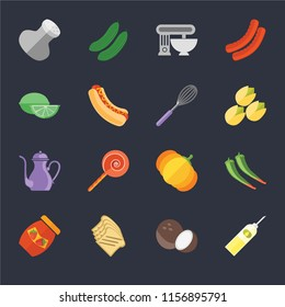 Set Of 16 icons such as Oil, Coconut, Toast, Jam, Pepper, Salt, Lime, Teapot, Whisk on black background, web UI editable icon pack