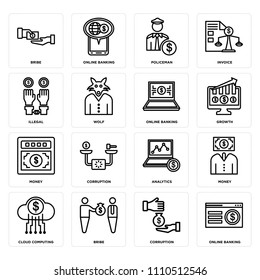 Set Of 16 icons such as Online banking, Corruption, Bribe, Cloud computing, Money, Illegal, web UI editable icon pack, pixel perfect