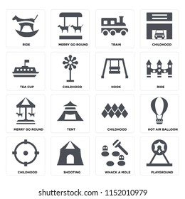 Set Of 16 icons such as Playground, Whack a mole, Shooting, Childhood, Hot air balloon, Ride, Tea cup, Merry go round, Hook on transparent background, pixel perfect