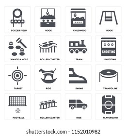 Set Of 16 icons such as Playground, Ride, Roller coaster, Football, Trampoline, Soccer field, Whack a mole, Target, Train on transparent background, pixel perfect