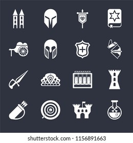 Set Of 16 icons such as Poison, Castle, Archery, Quiver, Tower, Wheelbarrow, Dagger, Shield on black background, web UI editable icon pack