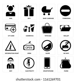 Set Of 16 icons such as Purse, Smarthphone, Electricity, Boy, No wifi, Girl, Cit card, Information point, Tote bag, web UI editable icon pack, pixel perfect