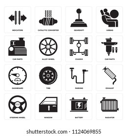 Set Of 16 icons such as Radiator, Battery, Window, Steering wheel, Exhaust, Indicators, Car parts, Dashboard, Chassis, web UI editable icon pack, pixel perfect