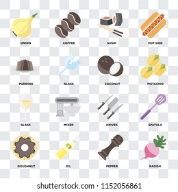 Set Of 16 icons such as Radish, Pepper, Oil, Doughnut, Spatula, Onion, Pudding, Glass, Coconut on transparent background, pixel perfect