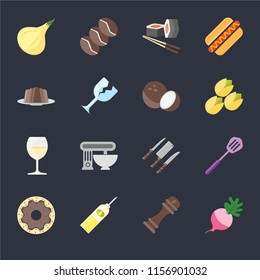 Set Of 16 icons such as Radish, Pepper, Oil, Doughnut, Spatula, Onion, Pudding, Glass, Coconut on black background, web UI editable icon pack
