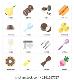 Set Of 16 icons such as Radish, Pepper, Oil, Doughnut, Spatula, Onion, Pudding, Glass, Coconut, web UI editable icon pack, pixel perfect
