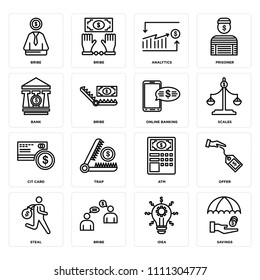 Set Of 16 icons such as Savings, Idea, Bribe, Steal, Offer, Bank, Cit card, Online banking, web UI editable icon pack, pixel perfect