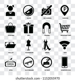 Set Of 16 icons such as Smarthphone, No wifi, Skateboard, Open, Wifi, Girl, Tote bag, Wallet, Magnet on transparent background, pixel perfect