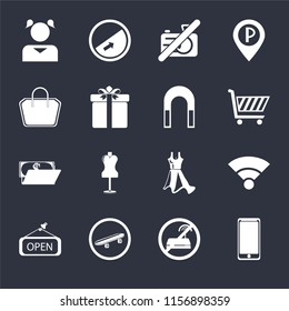 Set Of 16 icons such as Smarthphone, No wifi, Skateboard, Open, Wifi, Girl, Tote bag, Wallet, Magnet on black background, web UI editable icon pack