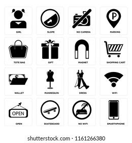 Set Of 16 icons such as Smarthphone, No wifi, Skateboard, Open, Wifi, Girl, Tote bag, Wallet, Magnet, web UI editable icon pack, pixel perfect