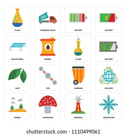 Set Of 16 icons such as Snowflake, Windmill, Mushroom, Forest, Ecology, Flask, Solar panel, Leaf, web UI editable icon pack, pixel perfect