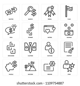 Set Of 16 icons such as Star, Resume, Success, Puzzle, Startup, Quotes, Idea, Exchange, Rating, web UI editable icon pack, pixel perfect - Shutterstock ID 1109754887