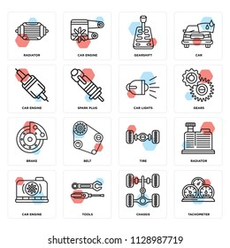 Set Of 16 icons such as Tachometer, Chassis, Tools, Car engine, Radiator, Brake, lights, web UI editable icon pack, pixel perfect