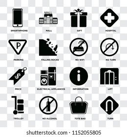 Set Of 16 icons such as Turn, Tote bag, No alcohol, Trolley, Lift, Smarthphone, Parking, Price, wifi on transparent background, pixel perfect
