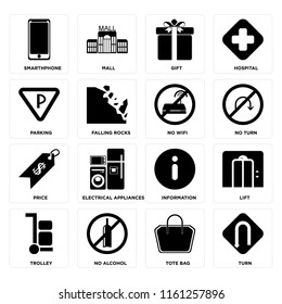 Set Of 16 icons such as Turn, Tote bag, No alcohol, Trolley, Lift, Smarthphone, Parking, Price, wifi, web UI editable icon pack, pixel perfect