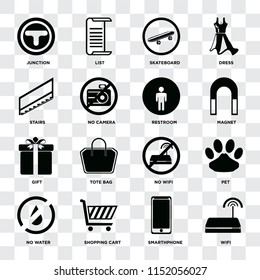 Set Of 16 icons such as Wifi, Smarthphone, Shopping cart, No water, Pet, Junction, Stairs, Gift, Restroom on transparent background, pixel perfect