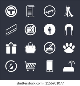 Set Of 16 icons such as Wifi, Smarthphone, Shopping cart, No water, Pet, Junction, Stairs, Gift, Restroom on black background, web UI editable icon pack