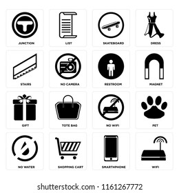 Set Of 16 icons such as Wifi, Smarthphone, Shopping cart, No water, Pet, Junction, Stairs, Gift, Restroom, web UI editable icon pack, pixel perfect