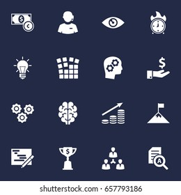 Set Of 16 Idea Icons Set.Collection Of Call Center, Sponsor, Bulb And Other Elements.