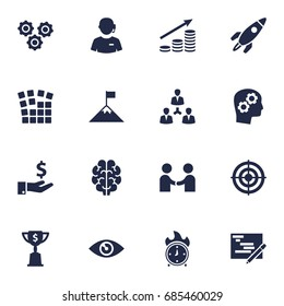 Set Of 16 Idea Icons Set.Collection Of Call Center, Writing, Gear And Other Elements.