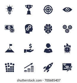 Set Of 16 Idea Icons Set.Collection Of Rocket, Currency, Call Center And Other Elements.