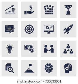 Set Of 16 Idea Icons Set.Collection Of Money Growth, Intelligence, Achievement And Other Elements.