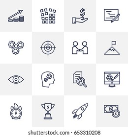Set Of 16 Idea Outline Icons Set.Collection Of Deadline, Eye, Currency And Other Elements.