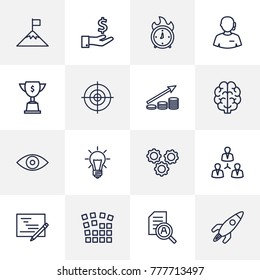 Set Of 16 Idea Outline Icons Set.Collection Of Startup, Research, Success And Other Elements.