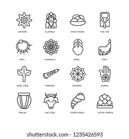 Set Of 16 india linear icons such as Lotus temple, Conch shell, Sac cow, Tablas, Karma, Chakra, Devi, Bael tree, Bindi, editable stroke icon pack, pixel perfect