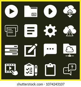 Set of 16 interface filled icons such as play button, video player, tasks list, discuss issue, sms speech bubble, pen on square of paper interface symbol