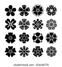 Set of 16 isolated black flowers