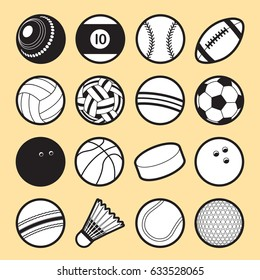 Set of 16 isolated sport ball icons in black & white. Symbol of sport balls in outline style. Vector illustration.