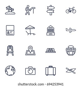 Set Of 16 Journey Outline Icons Set.Collection Of Case, Photo, Building And Other Elements.